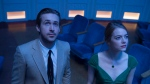 """This image released by Lionsgate shows Ryan Gosling, left, and Emma Stone in a scene from, """"La La Land."""" The film is nominated for an Oscar for best feature film. (Dale Robinette/Lionsgate via AP)"""