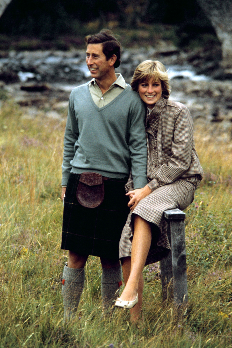 FILE - In this Aug. 19, 1981 file photo, Britain's Prince Charles and Diana, Princess of Wales pose for photographers during their honeymoon in Balmoral, Scotland. (PA via AP, file)