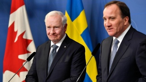 Sweden's Prime Minister Stefan Lofven, right, during a news conference with Governor General  David Johnston at the government building Rosenbad in Stockholm, on Monday, Feb. 20, 2017. (Jonas Ekstromer / TT via AP)