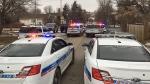 Police vehicles in North Central Regina on Feb. 22. (GARETH DILLISTONE/CTV REGINA)