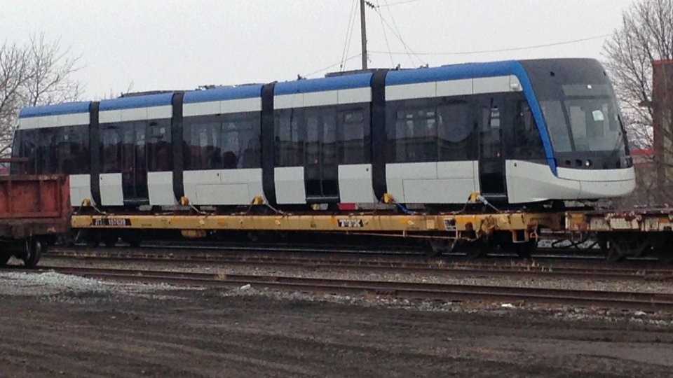 The first vehicle manufactured for Waterloo Region's Ion light rail transit system is seen in Cambridge on Wednesday, Feb. 22, 2017. (Rosie Del Campo / CTV Kitchener)