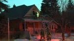 Firefighters at the scene of Wednesday evening's fire on McDougall Road in Bridgeland