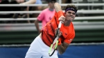 Milos Raonic serves to Tim Smyczek during the Delray Beach Open at the Delray Beach Tennis Center on Tuesday, Feb. 21, 2017. (Randy Vazquez / South Florida Sun-Sentinel)