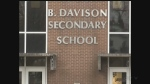 Hate filled graffiti was found at B. Davison Secondary School on Wednesday, Feb. 22, 2017. (Marek Sutherland / CTV London)