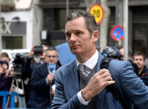 Spain's Princess Cristina's husband Inaki Urdangarin arrives at a courthouse in Palma de Mallorca, Spain, Thursday, Feb. 23, 2017. (AP Photo/Joan Llado)