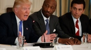 President Donald Trump speaks during a meeting with manufacturing executives at the White House in Washington, Thursday, Feb. 23, 2017. From left are, Trump, Merck CEO Kenneth Frazier, and Ford CEO Mark Fields. (AP Photo/Evan Vucci)