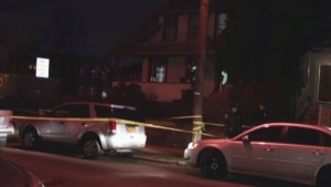 Police responded to a 911 call of a person stabbed in front of a home in the Bronx on Wednesday, Feb. 22, 2017.