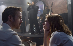 This image released by Lionsgate shows Ryan Gosling, left, and Emma Stone in a scene from, 'La La Land.' (Dale Robinette/Lionsgate via AP)