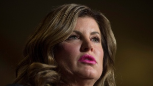 Interim Conservative Leader Rona Ambrose speaks about her private members bill in the Foyer of the House of Commons in Ottawa, Thursday February 23, 2017. (THE CANADIAN PRESS/Adrian Wyld)