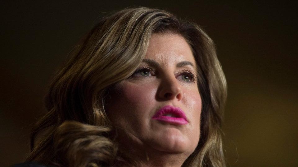 Then-Interim Conservative Leader Rona Ambrose speaks about her private members bill in the Foyer of the House of Commons in Ottawa, on Thursday, Feb. 23, 2017. (Adrian Wyld / THE CANADIAN PRESS)