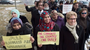 Ontario Premier Kathleen Wynne takes part in a march against Islamophobia in Toronto, Wednesday, Feb.1, 2017. (Frank Gunn/The Canadian Press)