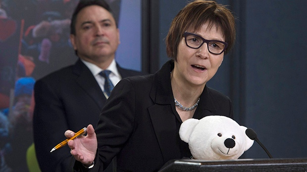 In this file photo, Cindy Blackstock, Executive Director of the First Nations Child and Family Caring Society Caring Society, responds to a question during a news conference in Ottawa, Thursday February 23, 2017. THE CANADIAN PRESS/Adrian Wyld