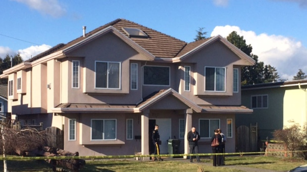 A Burnaby home was behind police tape for a investigation on Feb. 23, 2017. (CTV)