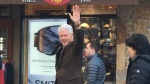 Former U.S. president Bill Clinton smiles and waves at onlookers while in Whistler, B.C. for a speaking engagement. Feb. 22, 2017. (Facebook/Stephanie Reesor)