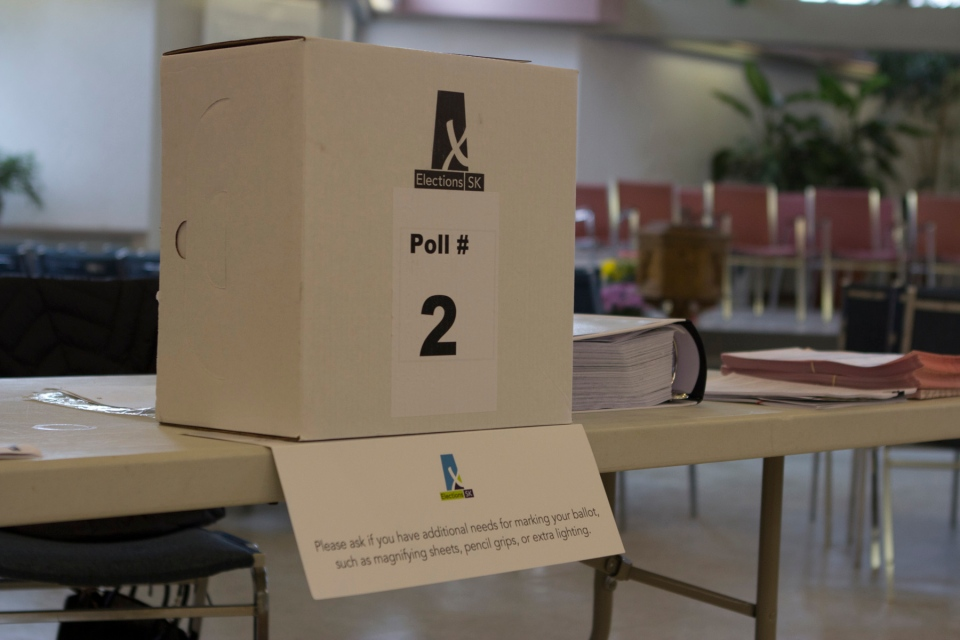 An Elections Saskatchewan poll box is shown in this supplied photo. (Elections Saskatchewan)