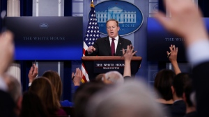 White House press secretary Sean Spicer speaks during a daily press briefing at the White House in Washington, Thursday, Feb. 23, 2017. (Manuel Balce Ceneta/AP Photo)