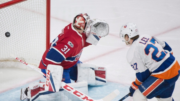 Montreal Canadiens goaltender Carey Price was looking the wrong way when New York Islanders' Anders Lee scored in Montreal on Thursday, February 23, 2017. THE CANADIAN PRESS/Graham Hughes