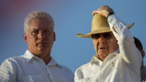 Cuba's First Vice President Miguel Diaz-Canel, left, stands with President Raul Castro during the May Day parade in Havana, Cuba on May 1, 2016. (AP / Ramon Espinosa)