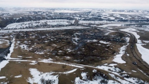 This aerial photo provided the Morton County Sheriff Department shows the closed Dakota Access pipeline protest camp near Cannon Ball, N.D. on Thursday, Feb. 23, 2017.