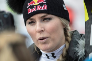 Lindsey Vonn of the United States, who refused the start, talks to reporters in the finish area during the women's alpine combined Super-G race of the Alpine Skiing World Cup, in Crans-Montana, Switzerland, Friday, Feb. 24, 2017. (Alessandro della Valle / Keystone)