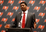 In this Dec. 18, 2016, file photo, Tampa Bay Buccaneers' Jameis Winston participates in a news conference after an NFL football game against the Dallas Cowboys in Arlington, Texas. (AP Photo/Michael Ainsworth, File)