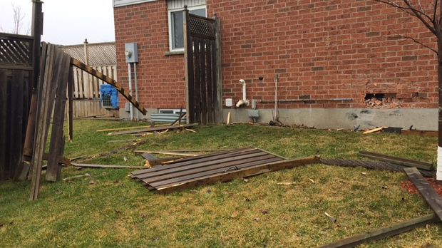 Lawns, fence, house and gas line damaged in Kitchener neighbourhood on Friday, February 24, 2017