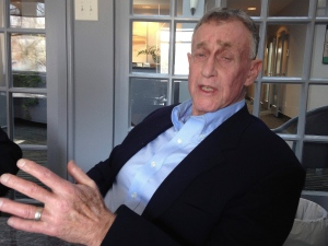 In this Thursday, Feb. 22, 2017, photo, Michael Peterson speaks to a reporter. (AP Photo/Martha Waggoner)