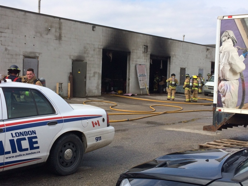 Firefighters battle an industrial blaze on Wharncliffe Road on Friday, February 24, 2017. (Sean Irvine / CTV London)