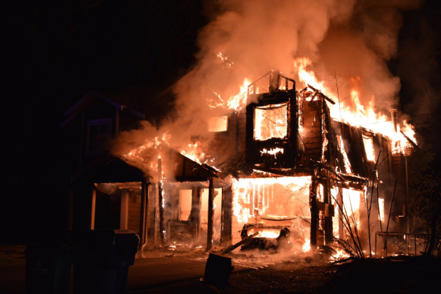 One side of the brand new duplex, which is on Pauchachin First Nation, was completely destroyed and the other side was damaged. (Photo: North Saanich fire)