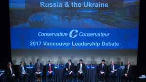 Candidates are seen on stage during a federal Conservative Party leadership debate in Vancouver, B.C., on Sunday February 19, 2017. THE CANADIAN PRESS/Darryl Dyck
