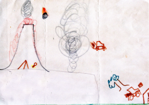 Weather art by Wade, age 8.