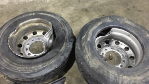 Wheels that flew off a tractor trailer are seen in this image (OPP_ER / Twitter)