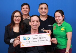 These five coworkers won $500,000 via a Lotto Max draw. (OLG)