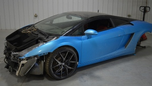 RCMP released a photo of one of the stolen Lamborghinis found in Deadwood, Alberta on February 22, 2017. Supplied.