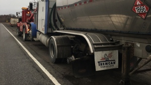 Five vehicles were struck when a dual wheel assembly rolled off a tractor-trailer on the 401 near Prescott around 7a.m.  on Friday, Feb. 24, 2017.