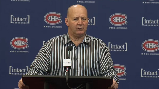 Claude Julien talks to reporters in Montreal after a Canadiens practice on Feb. 24, 2017
