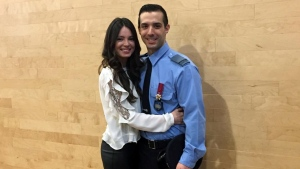 James Santos graduated from the Nicolet police academy on Friday, Feb. 24, 2017. He is seen here with his girlfriend, Vanessa Pizzichemi.