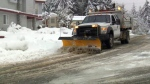 A City of Nanaimo snow plowing truck clears roads after a fresh snowfall on Friday, Feb. 24, 2017. (CTV Vancouver Island)