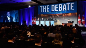 Deepak Obhrai, Michael Chong, Kevin O'Leary and Andrew Scheer participate in a Conservative Party leadership debate at the Manning Centre conference, on Friday, Feb. 24, 2017 in Ottawa. THE CANADIAN PRESS/Justin Tang