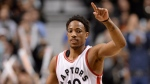 Toronto Raptors' DeMar DeRozan (10) celebrates a three-pointer during second half NBA basketball action against the Boston Celtic, in Toronto on Friday, February 24, 2017. THE CANADIAN PRESS/Frank Gunn