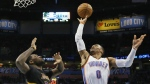 Oklahoma City Thunder guard Russell Westbrook (0) shoots in front of Los Angeles Lakers center Tarik Black during the second quarter of an NBA basketball game in Oklahoma City, Friday, Feb. 24, 2017. (AP / Sue Ogrocki)