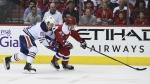 Edmonton Oilers defenseman Matt Benning (83) pressures Washington Capitals right wing Riley Barber (24) during the second period of an NHL hockey game, Friday, Feb. 24, 2017, in Washington. (AP / Molly Riley)