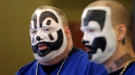 Joseph Bruce aka Violent J, left, and Joseph Utsler aka Shaggy 2 Dope, members of the Insane Clown Posse address the media in Detroit, Wednesday, Jan. 8, 2014. (AP Photo/Carlos Osorio)