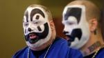 Joseph Bruce aka Violent J, left, and Joseph Utsler aka Shaggy 2 Dope, members of the Insane Clown Posse address the media in Detroit, Wednesday, Jan. 8, 2014. (AP Photo/Carlos Osorio)