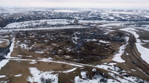 This aerial photo provided by the Morton County Sheriff Department shows the closed Dakota Access pipeline protest camp near Cannon Ball, N.D., Thursday, Feb. 23, 2017.  (Morton County Sheriff Department via AP)