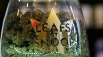 FILE - This Friday, Dec. 18, 2015, file photo shows the label on a jar in the marijuana line marketed by rapper Snoop Dogg in one of the LivWell marijuana chain's outlets south of downtown Denver.  (AP Photo/David Zalubowski, File)