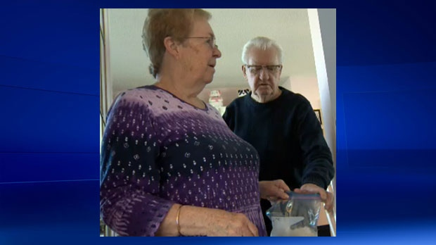 Theresa and Richard Couch with a section of the ice ball that crashed into their home in Dover on February 24, 2017. WestJet is accepting responsibility for the damage.