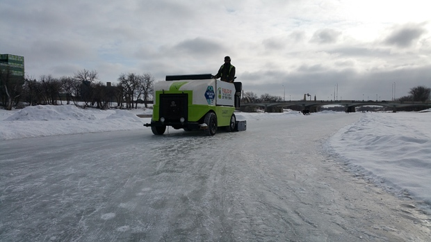 A Zamboni cleans the Red River Mutual Trail, a portion of which reopened on Saturday, Feb. 25, 2017. (Photo: Dan Timmerman/CTV Winnipeg)