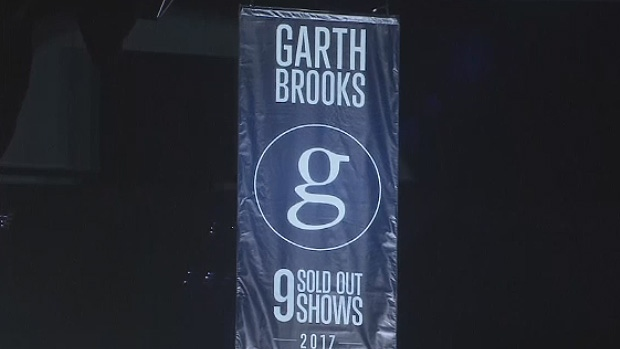 Oilers Entertainment Group honoured Garth Brooks with a banner on Friday at Rogers Place for selling out nine shows.
