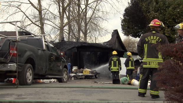 A house fire in Surrey, B.C. has left six people homeless Saturday morning. (CTV News). Feb. 25, 2017.